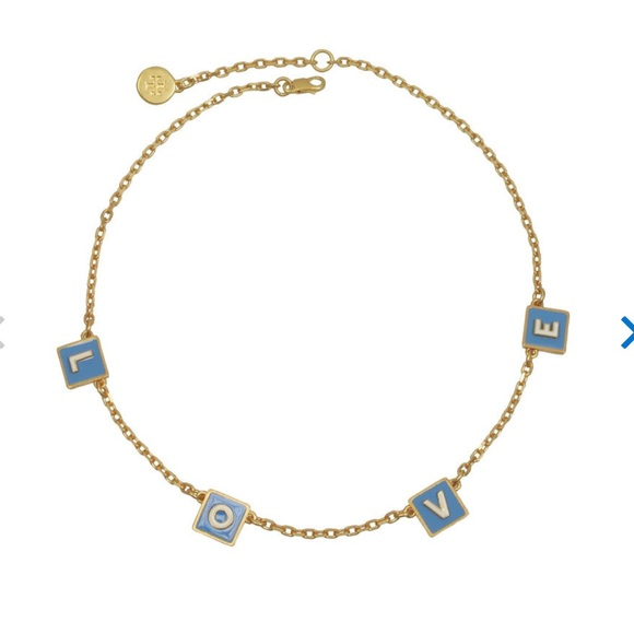 e4f14082467b4 New tory burch love message necklace in blue